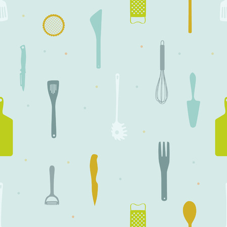 Various kitchen tools vector background