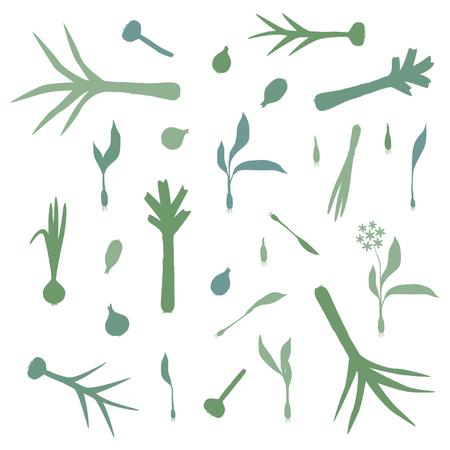 Knoflook, prei en uiensilhouetten - vector achtergrond Stock Illustratie