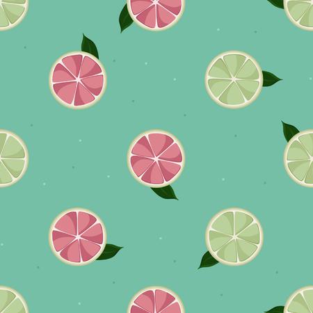 Grapefruit slices - vector background Illustration