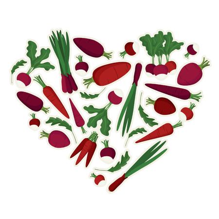 Hart gemaakt van groenten - vectorillustratie