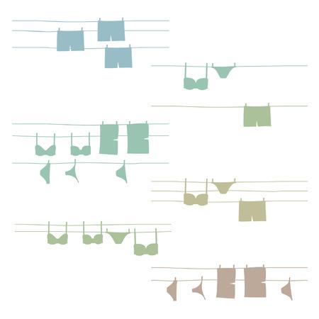 Underwear hanging on clothesline - vector illustration Vektorové ilustrace