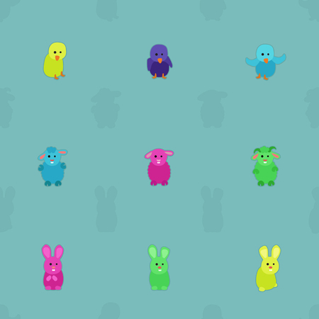 Colorful animals - vector background Ilustrace