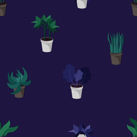 Potted houseplants seamless vector background
