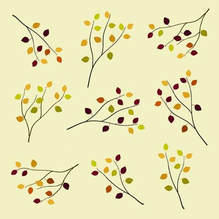 Set of autumn branches vector illustration. Ilustrace