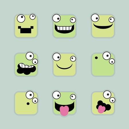 humorous: Square emoticons - vector illustration