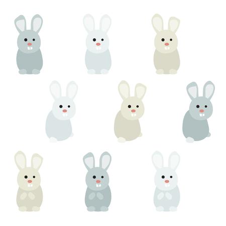 Set of rabbits - vector illustration