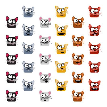 Cat emoticons - vector illustration