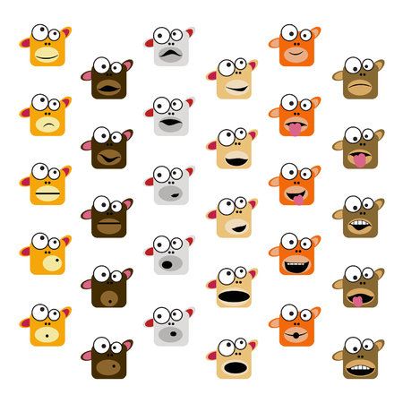 Set of monkey emoticons - vector illustration Illusztráció