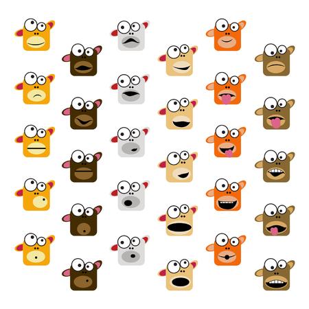 Set of monkey emoticons - vector illustration Illustration