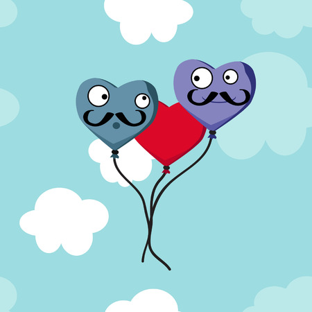 Heart balloons with mustache - vector background Ilustrace