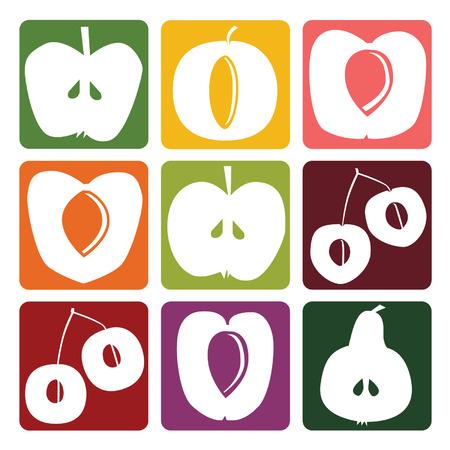 Fruit icons - vector illustration Иллюстрация