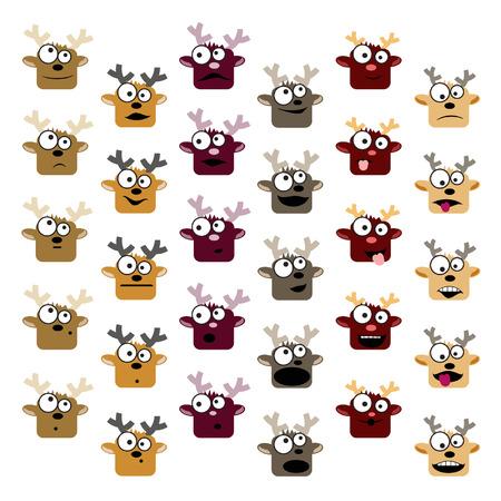 Set of deer emoticons Illustration