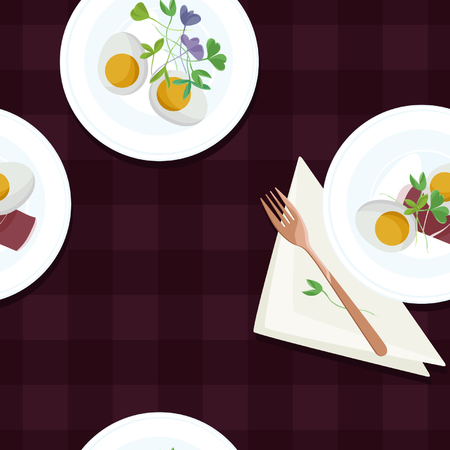 Served eggs, ham and sprouts - vector background