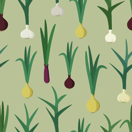 Garlic and onion illustration. Illustration