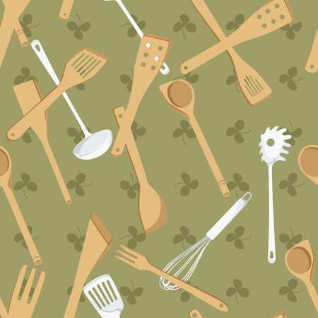 Green vector background decorated with kitchen tools Illustration