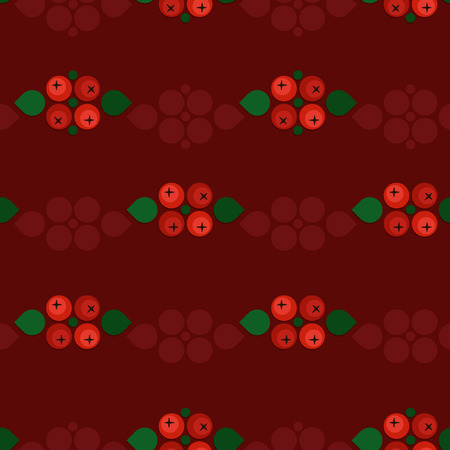 Ash berry decorations on red vector background