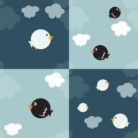 Set of birds and clouds vector backgrounds