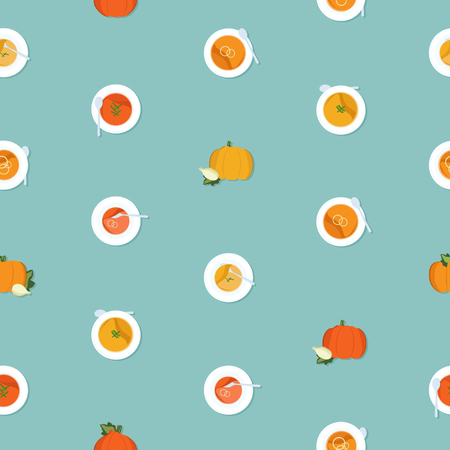 Pumpkin soup - vector background