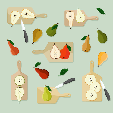 Cutting pears - vector illustration
