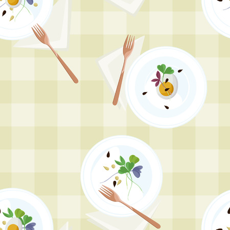 Served eggs and sprouts on plates - vector background Illustration