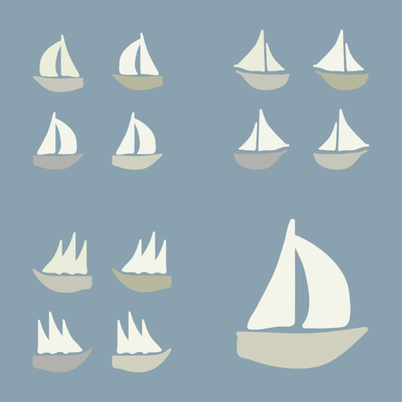 様々 なボート - ベクトル図のセット  イラスト・ベクター素材