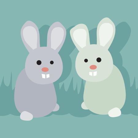 Two bunnies - vector illustration