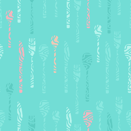 Light blue vector background decorated with cutlery Illustration