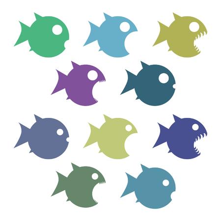 Set of colorful fish icon. Illustration