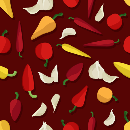 Garlic and peppers - vector background Иллюстрация