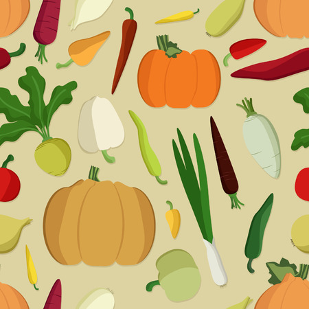 Various vegetables vector seamless background