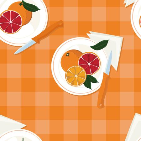 Served oranges - vector background