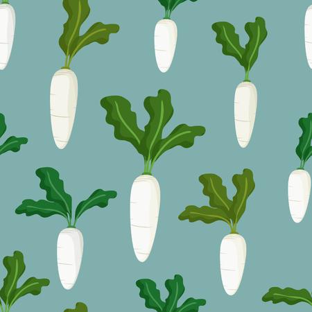 White radish cartoon illustration in a seamless pattern vector background