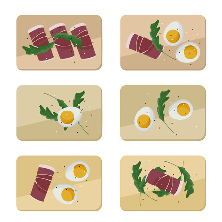 Eggs, ham and arugula served on wooden board - vector illustration