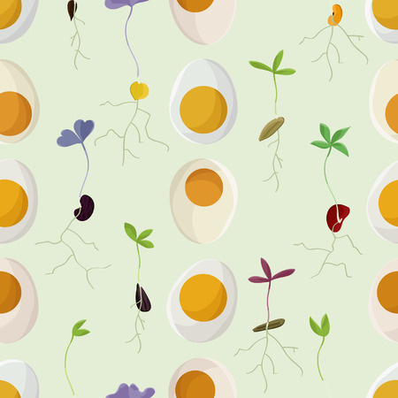 Eggs and growing seeds - vector background