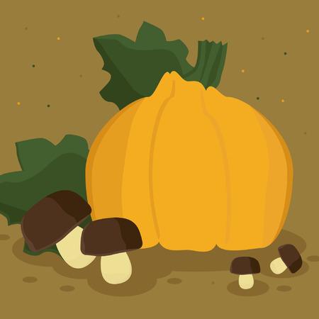 Pumpkin and mushrooms - vector illustration