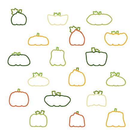 Set of outline pumpkins and squashes - vector illustration
