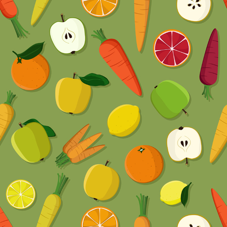 Fruits and vegetables in cute cartoon style pattern. Illustration