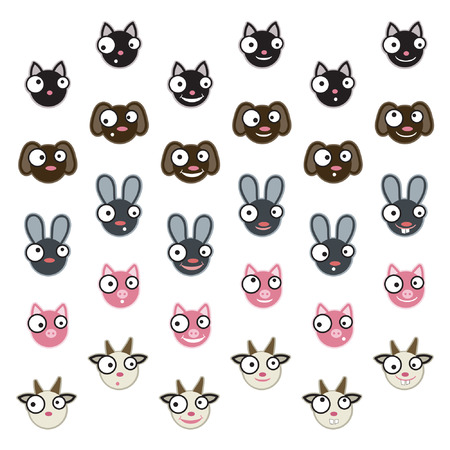 Set of domestic animals emoticons