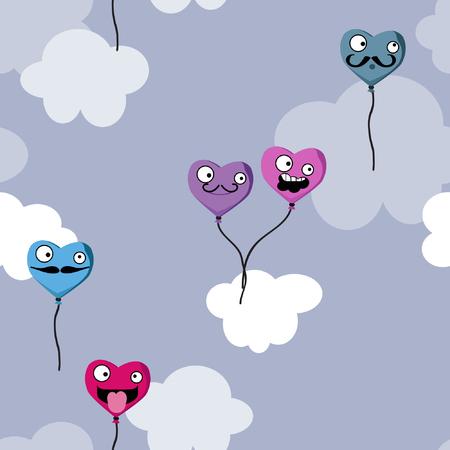 Heart balloons on cloudy pattern Illustration