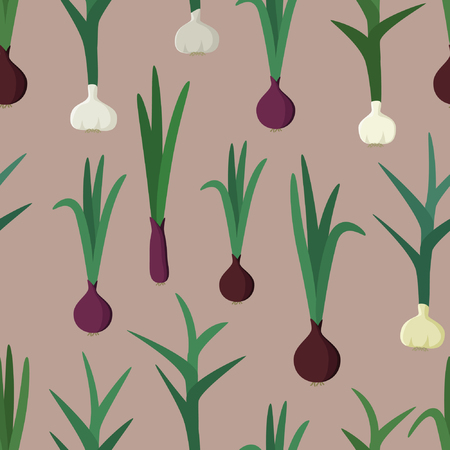 Garlic and red onion - vector pattern Illustration