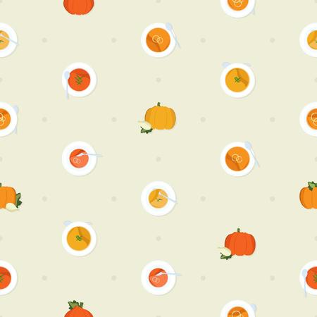 Pumpkin soup - vector pattern