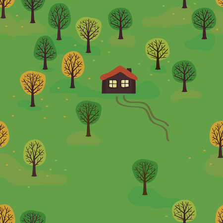 Autumn landscape - vector background Illustration