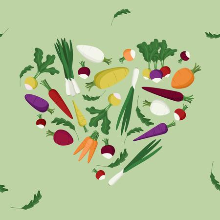 Vegetable heart - vector illustration  イラスト・ベクター素材