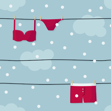 Red underwear hanging on clothesline - vector illustration