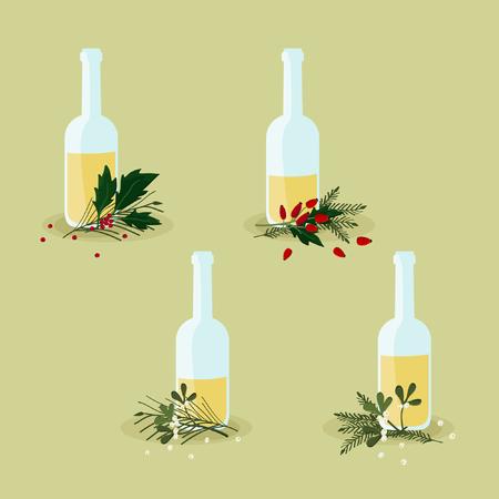 Bottles with eggnog and Christmas decoration - vector illustration Illustration