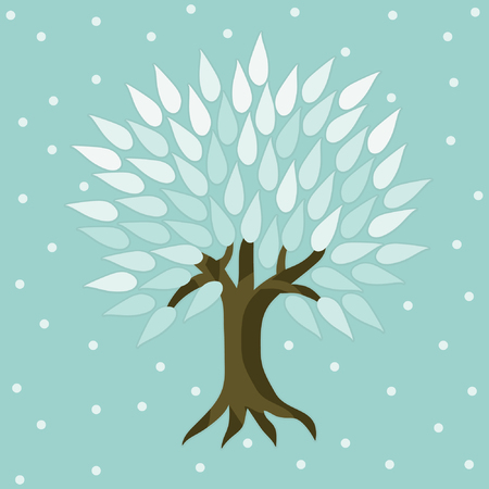 Tree in winter time - vector illustration