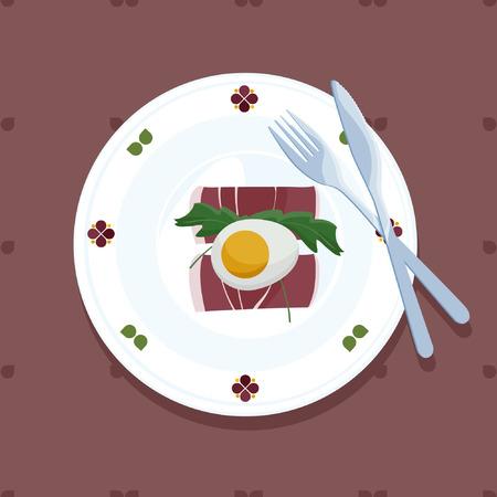Served eggs, ham and arugula - vector illustration Illustration