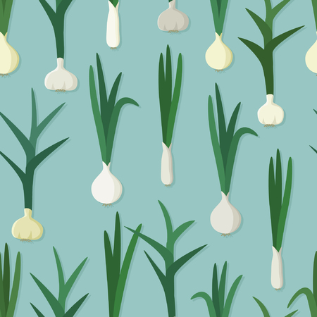 Garlic and onion on light blue - vector background