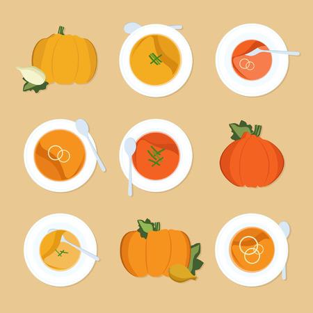 Pumpkin soup set - illustration.