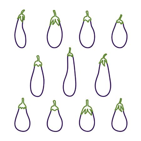 Set of outline eggplants vector illustration